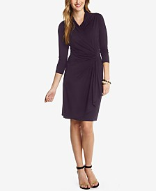 0610b851e9a Karen Kane Three-Quarter-Sleeve Faux-Wrap Dress