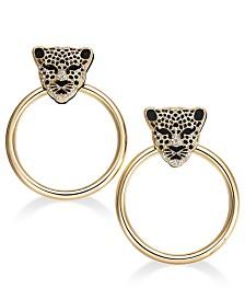 Thalia Sodi Gold-Tone Crystal Animal Door Knocker Hoop Earrings, Created for Macy's