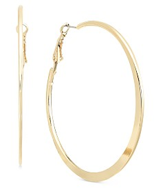 Alfani Silver-Tone Flat-Edge Hoop Earrings, Created for Macy's