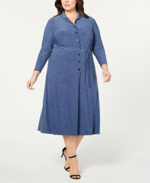 Image of Anne Klein Plus Size Printed Button-Front Shirtdress