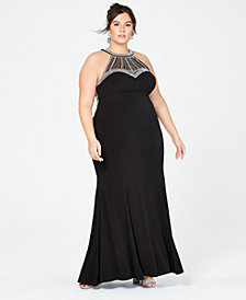 Say Yes to the Prom Trendy Plus Size Rhinestone Beaded Halter Gown, Created for Macy's