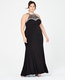 Say Yes to the Prom Trendy Plus Size Embellished Halter Gown, Created for Macy's