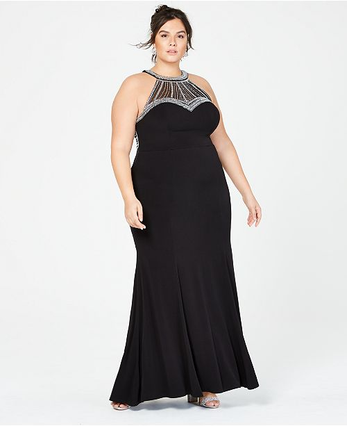 Say Yes to the Prom Trendy Plus Size Embellished Halter ...