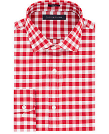 Tommy Hilfiger Men's Slim-Fit Red Check Dress Shirt