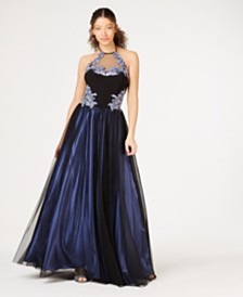 Blondie Nites Juniors' Sequined Appliqué Halter Gown