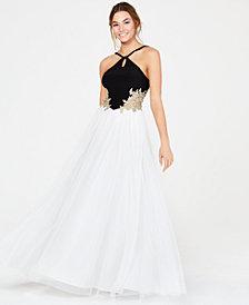 Blondie Nites Juniors' Keyhole Appliqué Gown