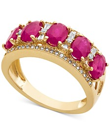 Certified Ruby (1-1/2 ct. t.w.) & Diamond (1/3 ct. t.w.) Ring in 14k White Gold (Also in Sapphire, Emerald & Tanzanite)
