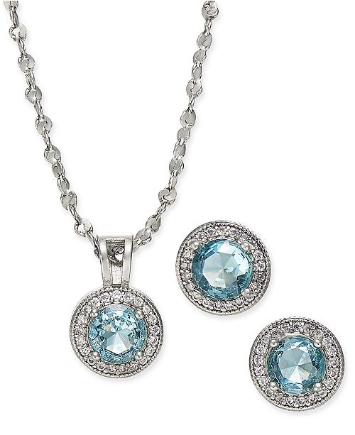 "Charter Club Silver-Tone Pavé and Stone Pendant Necklace & Stud Earrings Set, 17"" + 2"" extender, Created for Macy's"