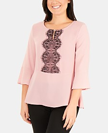 NY Collection Petite Lace-Front Peplum Top