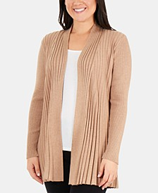 Petite Pleated Open-Front Cardigan