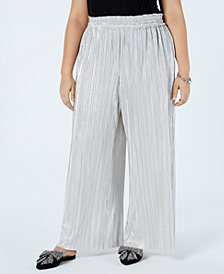 I.N.C. Plus Size Crinkle Shine Wide-Leg Pants, Created for Macy's