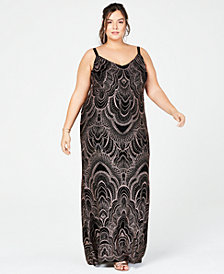 Jump Trendy Plus Size Glitter-Print Slinky Gown