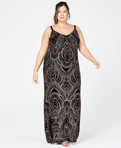 Jump Trendy Plus Size Glitter-Print Slinky Gown
