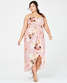 Trendy Plus Size Strapless Floral-Print Maxi Dress
