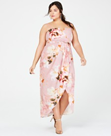 City Chic Trendy Plus Size Strapless Floral-Print Maxi Dress