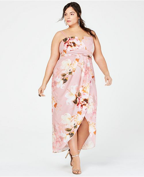 Trendy Plus Size Strapless Floral-Print Maxi Dress