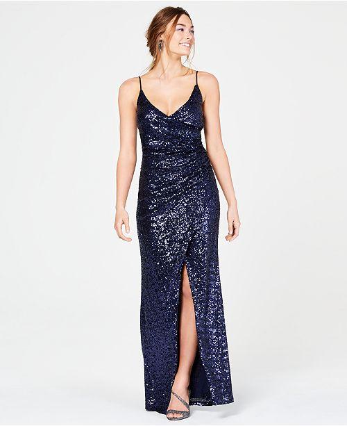 Trixxi Juniors' Sequined Wrap Slit Gown