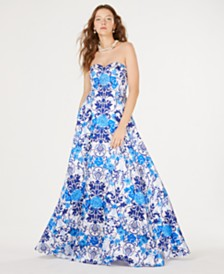 Say Yes to the Prom Juniors' Printed Rhinestone Strapless Gown, Created for Macy's