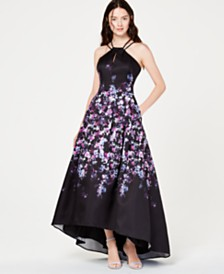 Morgan & Company Juniors' Printed High-Low Gown