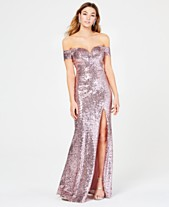 ba7755672e148 B Darlin Juniors  Off-The-Shoulder Sequined Gown