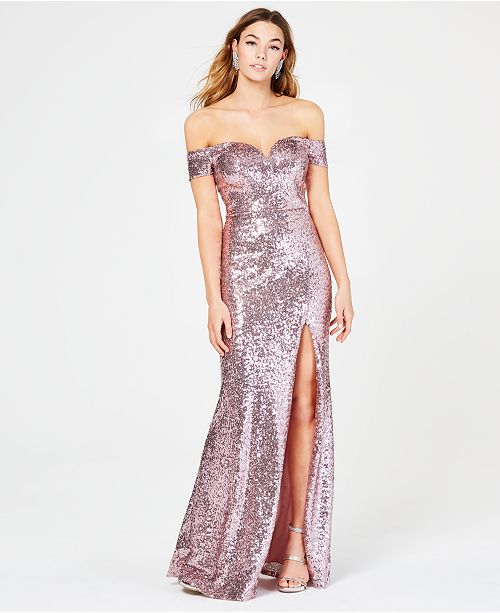B Darlin Juniors' Off-The-Shoulder Sequined Gown