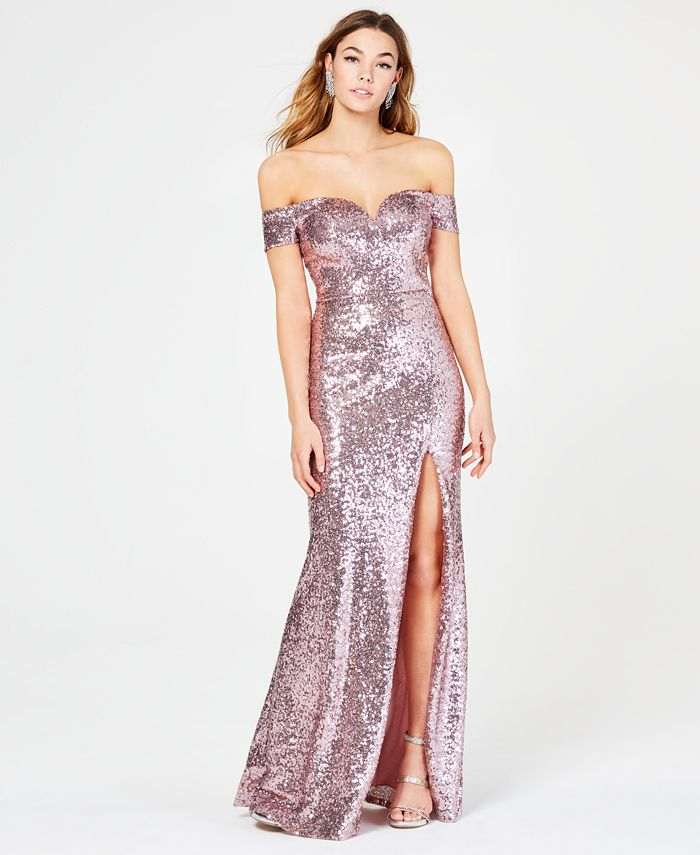 B Darlin - Juniors' Off-The-Shoulder Sequined Gown