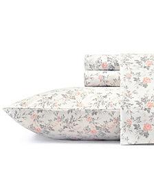 Laura Ashley Core Rosalie Lt-Pastel Grey Full Flannel Sheet Set