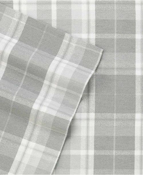 Laura Ashley Flannel Queen Sheet Set: Laura Ashley Mulholland Plaid Medium Grey Queen Flannel