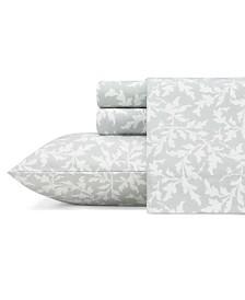 Laura Ashley Core Crestwood Lt-Pastel Grey King Flannel Sheet Set