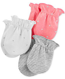 Carter's Baby Girls 3-Pack Printed Cotton Mittens