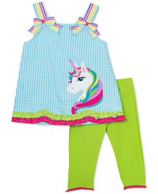 Rare Editions Baby Girls 2-Pc. Unicorn Top & Capri Leggings Set