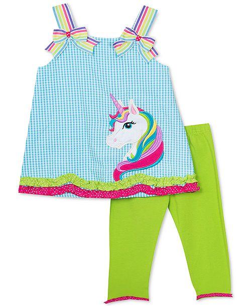 Rare Editions Baby Girls 2-Pc. Unicorn Top & Capri Leggings Set