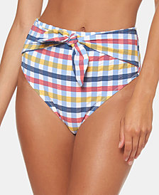 Jessica Simpson Texture Printed Tie High-Waist Bikini Bottoms