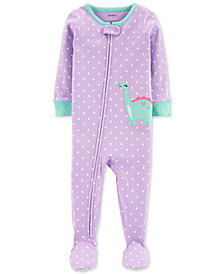 Carter's Baby Girls Dot-Print Dino Cotton Footed Pajamas