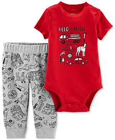 Carter's Baby Boys 2-Pc. Hero to the Rescue Graphic Cotton Bodysuit & Pants Set