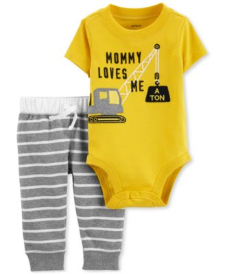 Image of Carter's Baby Boys 2-Pc. Construction Graphic Bodysuit & Striped Pants Set