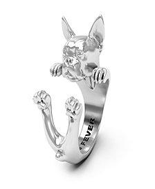 Boston Terrier Hug Ring in Sterling Silver