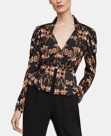 BCBGMAXAZRIA Printed Pleated-Shoulder Top