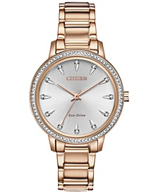 Eco-Drive Women's Silhouette Rose Gold-Tone Stainless Steel Bracelet Watch 36mm