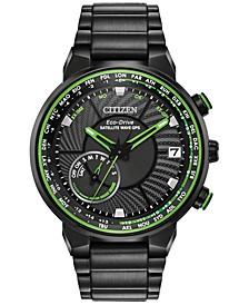 Eco-Drive Men's Satellite Wave GPS Black-Tone Stainless Steel Bracelet Watch 44mm
