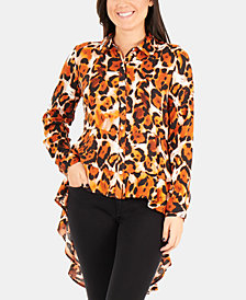NY Collection Dramatic High-Low Printed Blouse