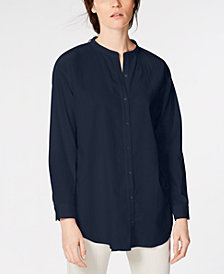 Eileen Fisher Mandarin Collar Organic Cotton Twill Shirt