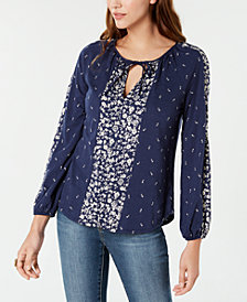Lucky Brand Mixed-Print Tie-Neck Top