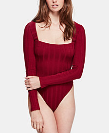 Free People Beside Me Long-Sleeve Thong Bodysuit