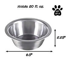 Stainless Steel Hanging Pet Bowls - Set of 2 By Petmaker