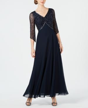 1940s Dresses | 40s Dress, Swing Dress, Tea Dresses J Kara Embellished 34-Sleeve Gown $269.00 AT vintagedancer.com