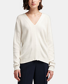 DKNY Cotton Lace-Up Sweater, Created for Macy's