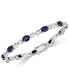 Sapphire & Diamond Accent Open Link Bracelet (11 ct. t.w.) in Sterling Silver
