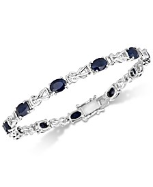 Sapphire & Diamond Accent Open Link Bracelet (11 ct. t.w.) in Sterling Silver