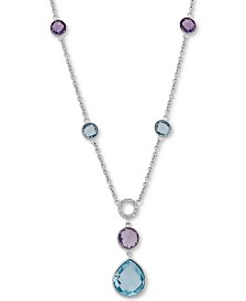 Multi-Gemstone Bezel Statement Necklace (9-5/8 ct. t.w.) in Sterling Silver